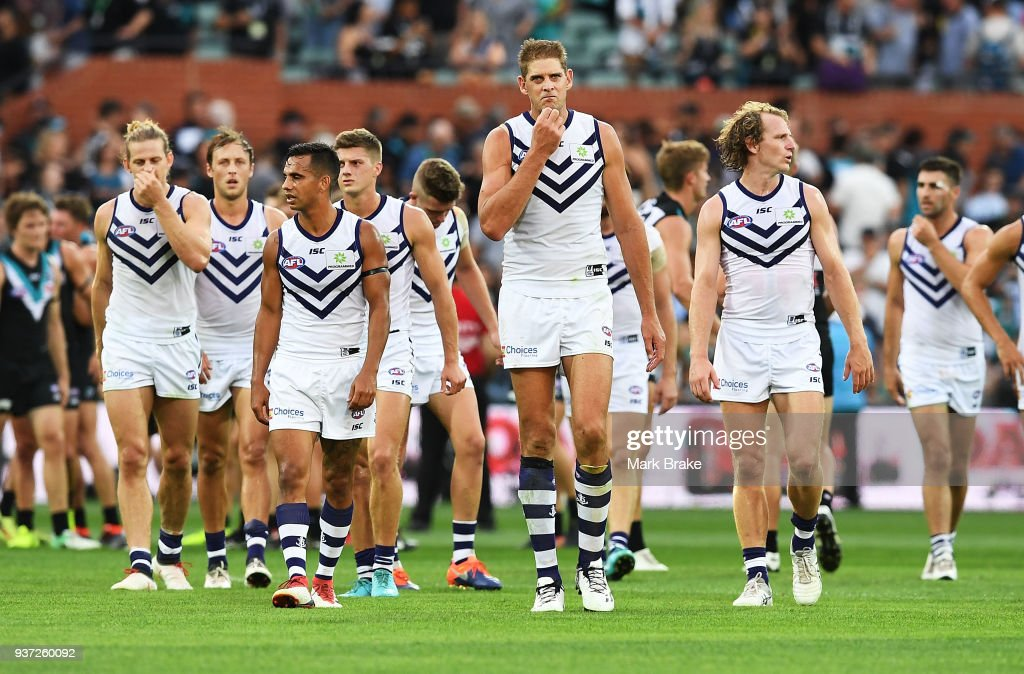 Aaron Sandilands of the Dockers leads his team off the ground during the round one AFL match between the Port Adelaide Power and the Fremantle Dockers at Adelaide Oval on March 24, 2018 in Adelaide, Australia.