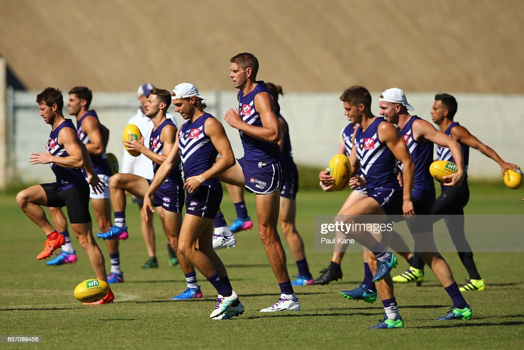 Aaron Sandilands of the Dockers warms up during a Fremantle Dockers AFL training session at Victor George Kailis Oval on March 24, 2017 in Perth, Australia.