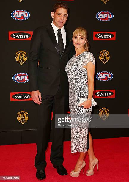 Aaron Sandilands of the Fremantle Dockers and Jenny Sandilands arrive at the 2015 Brownlow Medal at Crown Palladium on September 28 2015 in Melbourne...
