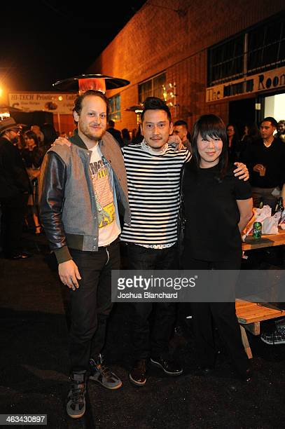 Aaron Sandnes Glenn Kaino and Thao Nguyen at the Oscar Murillo Distribution Center VIP Opening Reception at The Mistake Room on January 17 2014 in...
