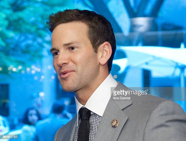 Aaron Schock speaks with guests during the GRAMMYs on the Hill awards at The Liaison Capitol Hill Hotel on April 14 2010 in Washington DC