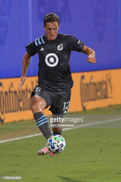Aaron Schoenfeld of Minnesota United controls the ball during a quarter final match of MLS Is Back Tournament between San Jose Earthquakes and...