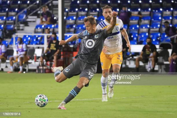 Aaron Schoenfeld of Minnesota United takes a shot on goal during a quarter final match of MLS Is Back Tournament between San Jose Earthquakes and...