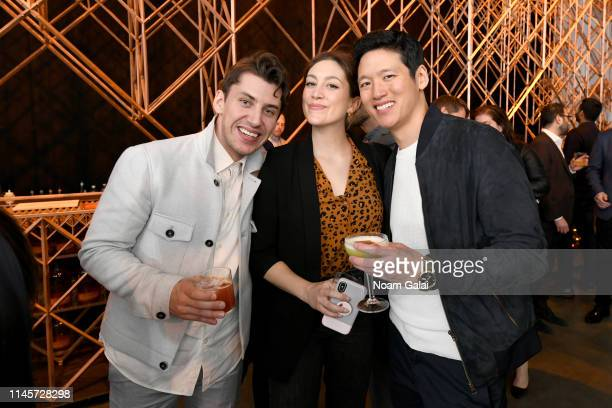 Aaron Schroeder Jessy Hodges and Jeff Chan attend the Plus One Premiere After Party at the Bulleit 3D printed Frontier Lounge during Tribeca Film...