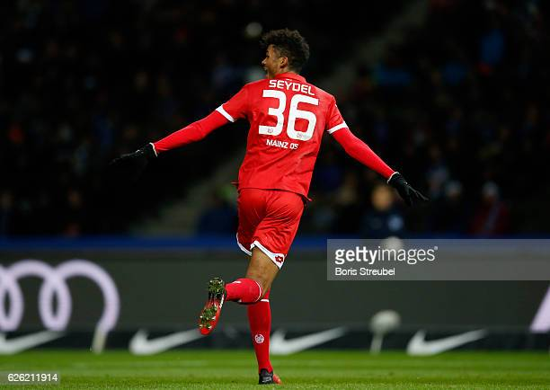 Aaron Seydel of 1 FSV Mainz 05 celebrates after scoring his team's first goal during the Bundesliga match between Hertha BSC and 1 FSV Mainz 05 at...