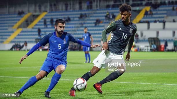 Aaron Seydel of Germany is challenged by Serkan Baloglu of Azerbaijan during the UEFA Under21 Euro 2019 Qualifier match between Azerbaijan U21 and...