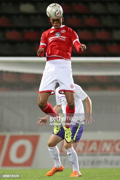 Aaron Seydel of Mainz 05 II during the Third League match between 1 FSV Mainz 05 II and Erzgebirge Aue at Bruchweg Stadium on September 22 2015 in...