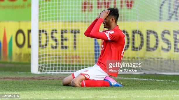 Aaron Seydel of Mainz reacts during the Third League match between Mainz 05 II and SV Werder Bremen II at Bruchweg Stadium on March 11 2017 in Mainz...