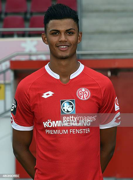 Aaron Seydel poses during the official team presentation of 1 FSV Mainz 05 II at Bruchweg Stadium on July 15 2015 in Mainz Germany