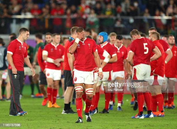 Aaron Shingler of Wales reacts following his team's defeat in the Rugby World Cup 2019 SemiFinal match between Wales and South Africa at...