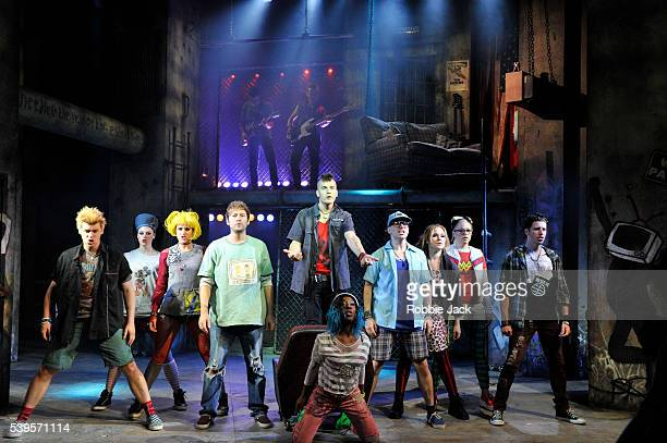 Aaron Sidwell as Johnny with artists of the company in Billy Joe Armstrong's American Idiot The Musical choreographed and directed by Racky Plews at...
