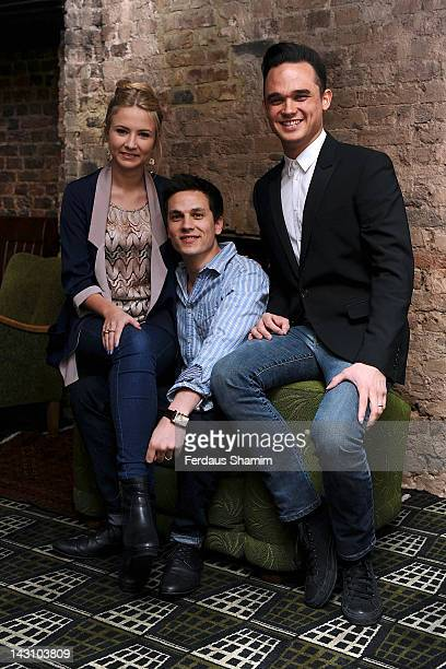 Aaron Sidwell, Eliza Hope Bennett and Gareth Gates part of the Loserville ensemble, meet the press at Century Club on April 19, 2012 in London,...