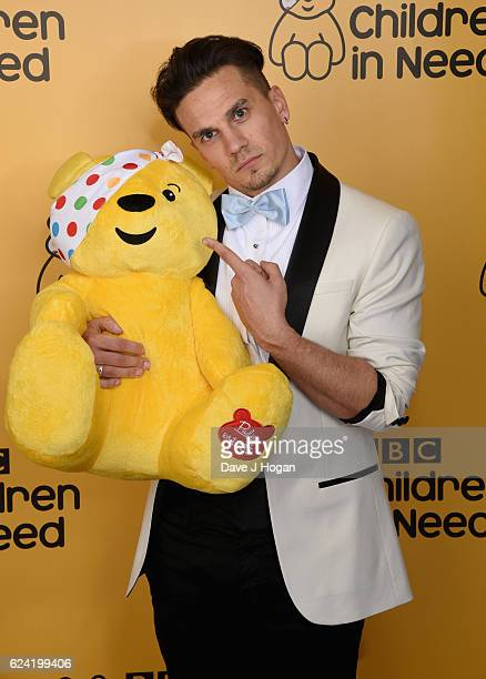 Aaron Sidwell shows support for BBC Children in Need at Elstree Studios on November 18 2016 in Borehamwood United Kingdom