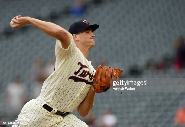 Aaron Slegers of the Minnesota Twins delivers a pitch against the Cleveland Indians in his major league debut during the first inning in game two of...