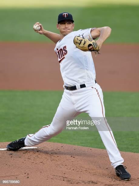 Aaron Slegers of the Minnesota Twins delivers a pitch against the Kansas City Royals during the first inning of the game on July 10 2018 at Target...