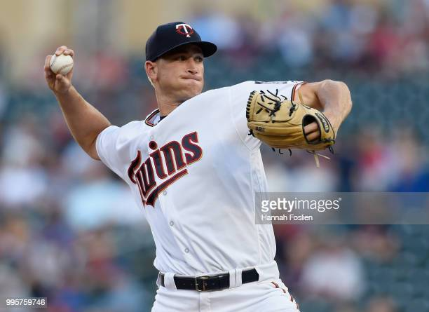 Aaron Slegers of the Minnesota Twins delivers a pitch against the Kansas City Royals during the second inning of the game on July 10 2018 at Target...