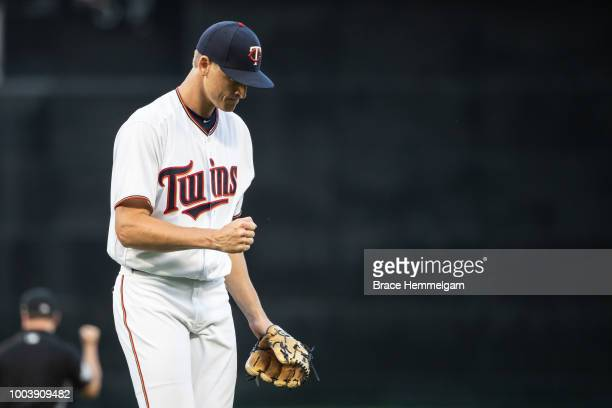 Aaron Slegers of the Minnesota Twins looks on against the Baltimore Orioles on July 5 2018 at Target Field in Minneapolis Minnesota The Twins...