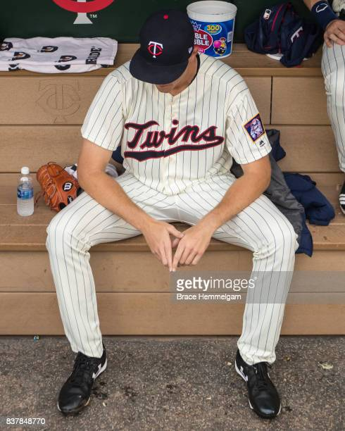 Aaron Slegers of the Minnesota Twins looks on during his major league debut against the Cleveland Indians in game two of a doubleheader on August 17...
