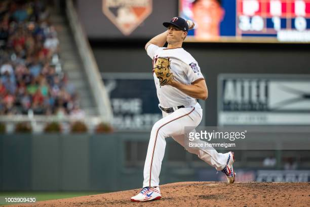 Aaron Slegers of the Minnesota Twins pitches against the Baltimore Orioles on July 5 2018 at Target Field in Minneapolis Minnesota The Twins defeated...