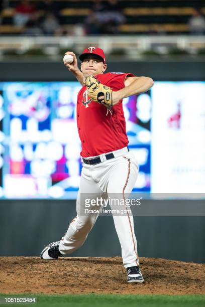 Aaron Slegers of the Minnesota Twins pitches against the Chicago White Sox on September 28 2018 at Target Field in Minneapolis Minnesota The Twins...