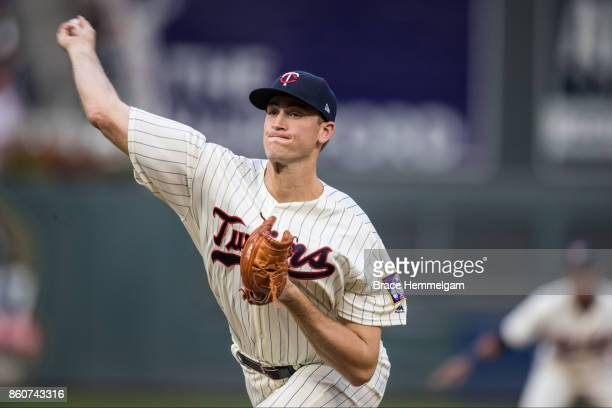 Aaron Slegers of the Minnesota Twins pitches against the Detroit Tigers on September 30 2017 at Target Field in Minneapolis Minnesota The Tigers...