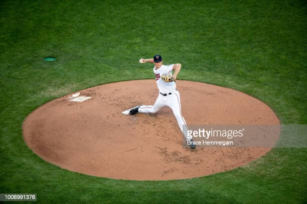 Aaron Slegers of the Minnesota Twins pitches against the Kansas City Royals on July 10 2018 at Target Field in Minneapolis Minnesota The Royals...