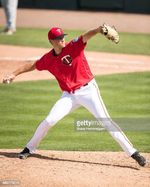 Aaron Slegers of the Minnesota Twins pitches against the Pittsburgh Pirates on March 1 2017 at the CenturyLink Sports Complex in Fort Myers Florida