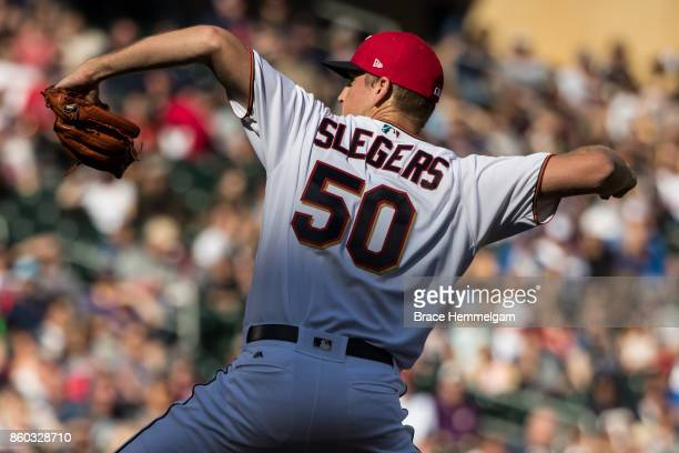 Aaron Slegers of the Minnesota Twins pitches against the Toronto Blue Jays on September 17 2017 at Target Field in Minneapolis Minnesota The Twins...