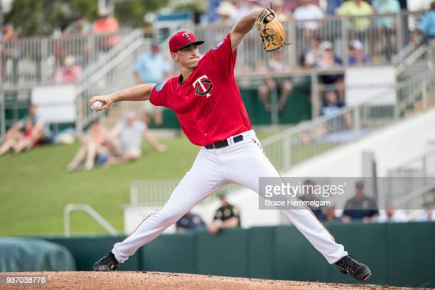 Aaron Slegers of the Minnesota Twins pitches during a spring training game against the Tampa Bay Rays on February 28 2018 at the Hammond Stadium in...