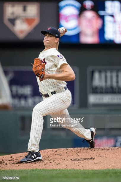 Aaron Slegers of the Minnesota Twins pitches during his major league debut against the Cleveland Indians in game two of a doubleheader on August 17...