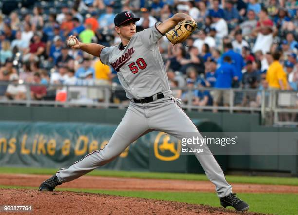 Aaron Slegers of the Minnesota Twins pitches in the second inning against the Kansas City Royals at Kauffman Stadium on May 30 2018 in Kansas City...