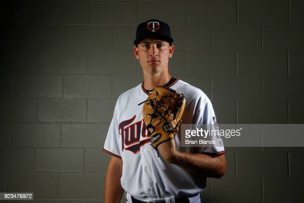 Aaron Slegers of the Minnesota Twins poses for a portrait on February 21 2018 at Hammond Field in Ft Myers Florida