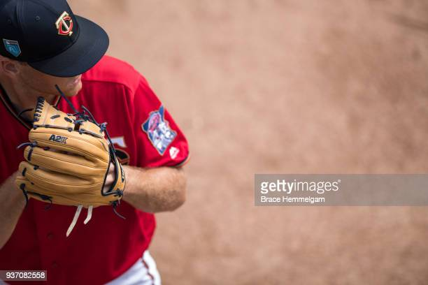Aaron Slegers of the Minnesota Twins prior to a spring training game against the Tampa Bay Rays on February 25 2018 at the Hammond Stadium in Fort...