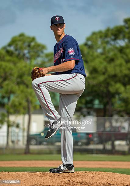 Aaron Slegers of the Minnesota Twins works out during minor league spring training on March 12 2015 at the CenturyLink Sports Complex in Fort Myers...