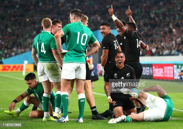 Aaron Smith of New Zealand celebrates after scoring his team's second try during the Rugby World Cup 2019 Quarter Final match between New Zealand and...