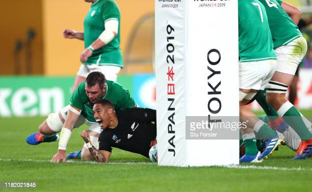 Aaron Smith of New Zealand celebrates scoring his sides first try during the Rugby World Cup 2019 Quarter Final match between New Zealand and Ireland...