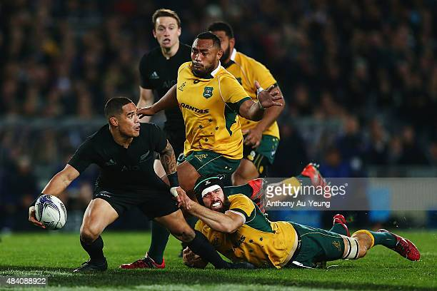 Aaron Smith of New Zealand makes a break during The Rugby Championship Bledisloe Cup match between the New Zealand All Blacks and the Australian...