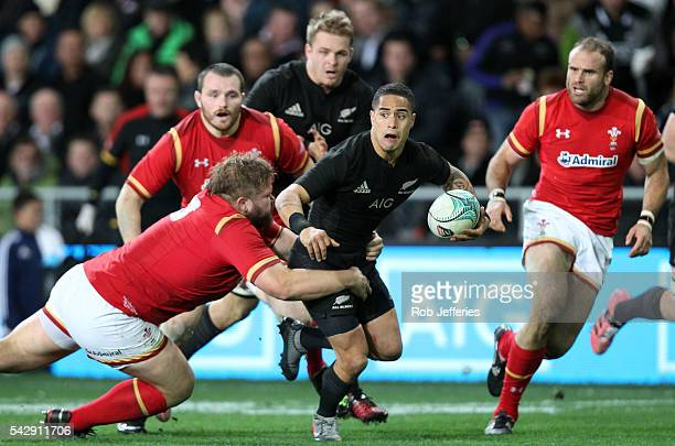 Aaron Smith of New Zealand on the attack during the International Test match between the New Zealand All Blacks and Wales at Forsyth Barr Stadium on...