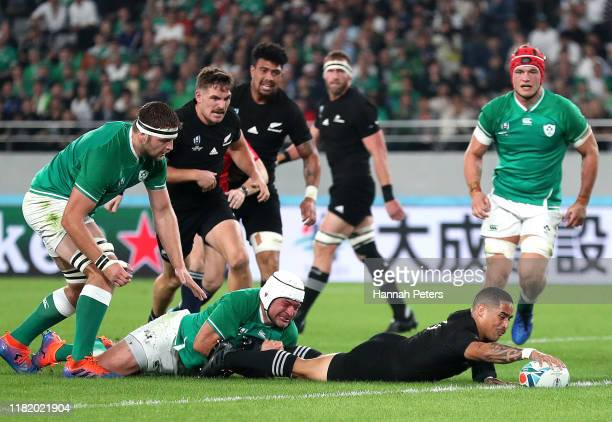 Aaron Smith of New Zealand scores his sides first try during the Rugby World Cup 2019 Quarter Final match between New Zealand and Ireland at the...