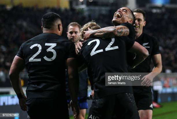 Aaron Smith of the All Blacks celebrates a try during the International Test match between the New Zealand All Blacks and France at Eden Park on June...