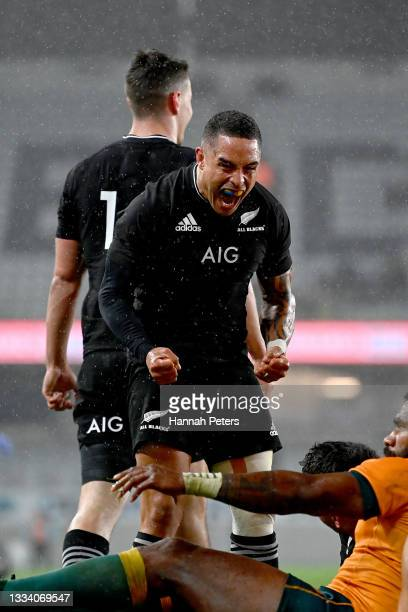 Aaron Smith of the All Blacks celebrates a try to Codie Taylor during The Rugby Championship and Bledisloe Cup match between the New Zealand All...