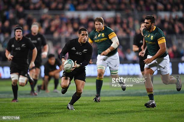 Aaron Smith of the All Blacks charges forward during the Rugby Championship match between the New Zealand All Blacks and the South Africa Springboks...