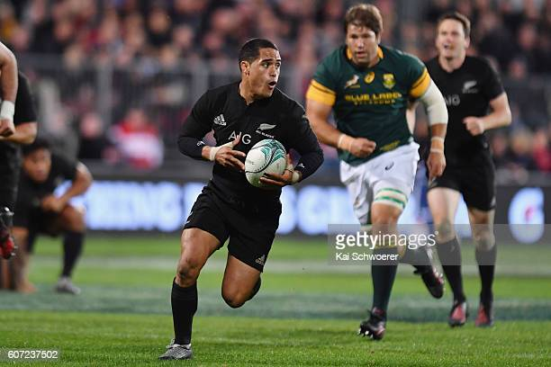 Aaron Smith of the All Blacks charging forward during the Rugby Championship match between the New Zealand All Blacks and the South Africa Springboks...