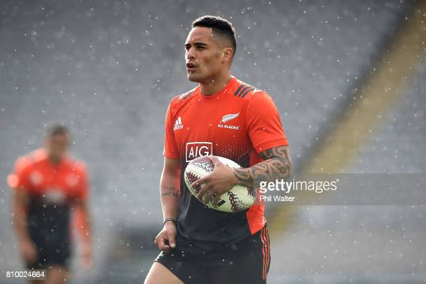 Aaron Smith of the All Blacks during the New Zealand All Blacks Captains Run at Eden Park on July 7 2017 in Auckland New Zealand