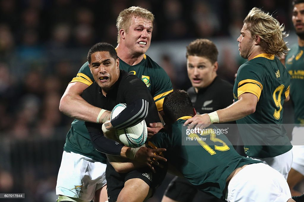 Aaron Smith of the All Blacks is tackled during the Rugby Championship match between the New Zealand All Blacks and the South Africa Springboks at AMI Stadium on September 17, 2016 in Christchurch, New Zealand.
