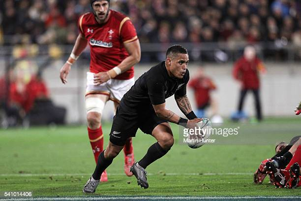 Aaron Smith of the All Blacks makes a break from a ruck during the International Test match between the New Zealand All Blacks and Wales at Westpac...