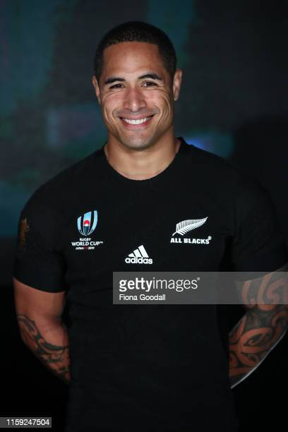 Aaron Smith of the All Blacks models the new jersey at the New Zealand All Blacks Rugby World Cup 2019 jersey launch at the Adidas Performance Store...
