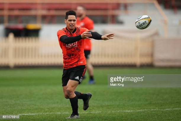 Aaron Smith of the All Blacks passes during a New Zealand All Blacks training session at North Sydney Oval on August 15 2017 in Sydney Australia