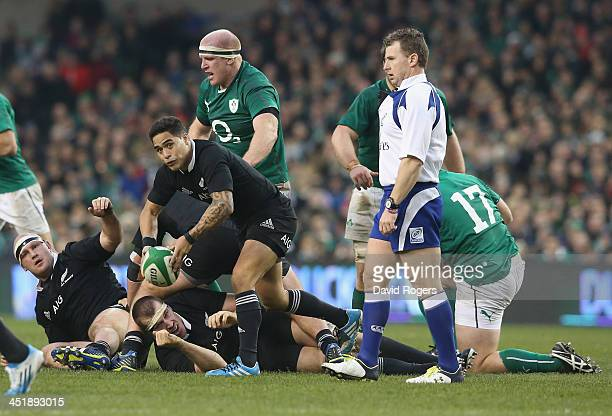 Aaron Smith of the All Blacks passes the ball during the International match between Ireland and New Zealand All Blacks at the Aviva Stadium on...