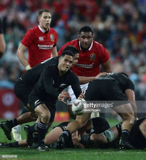 Aaron Smith of the All Blacks passes the ball during the match between the New Zealand All Blacks and the British Irish Lions at Westpac Stadium on...